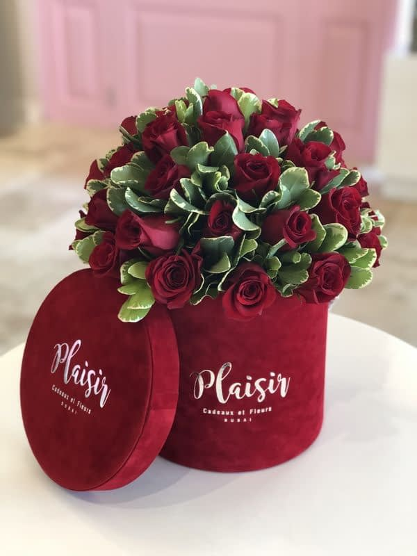 Red Cylinder rose dome with Pittosporum