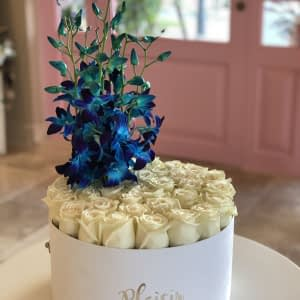 White Hatbox Flat White with Blue Dendro Orchids