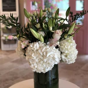 Lilies Roses - Hydrangeas in Glass Cylinder-Large