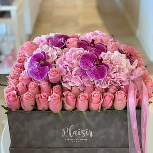 All Pink VIP box with Orchid blooms