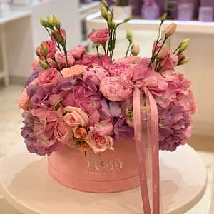 Pink Hatbox with Lisianthus