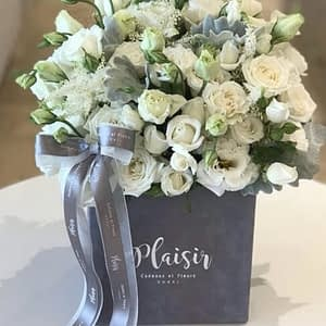 Grey Square all White Floral