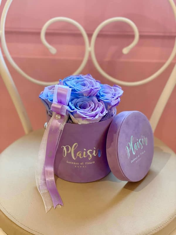 Candy-lane Infinity Roses in Lilac Mini Cylinder