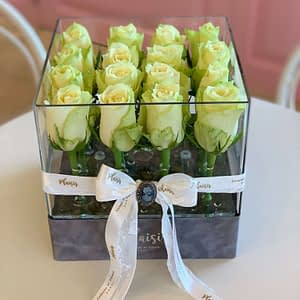 VIP Acrylic Square all white fresh roses