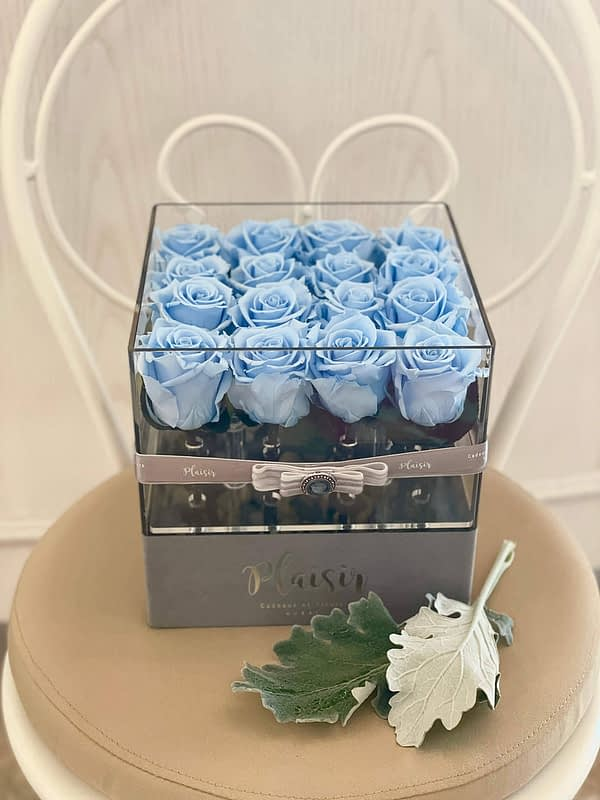 Baby Blue Infinity Roses in Square Acrylic