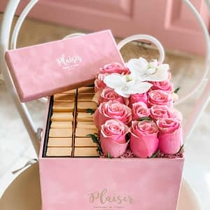 Chocobox Pink with Patchi Chocolates Fresh Roses