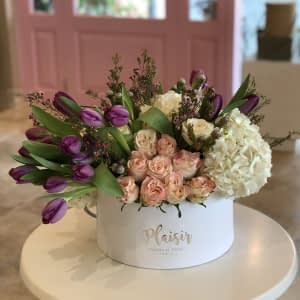 White Hatbox mix floral with Tulips - A
